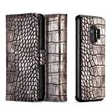 Cheap Galaxy S9 Wallet Case, SAVYOU Crocodile Pattern PU Leather Protective Shell Magnetic Detachable Folio Flip Wallet Carrying Stand Case with Card Slot Holder for Samsung Galaxy S9