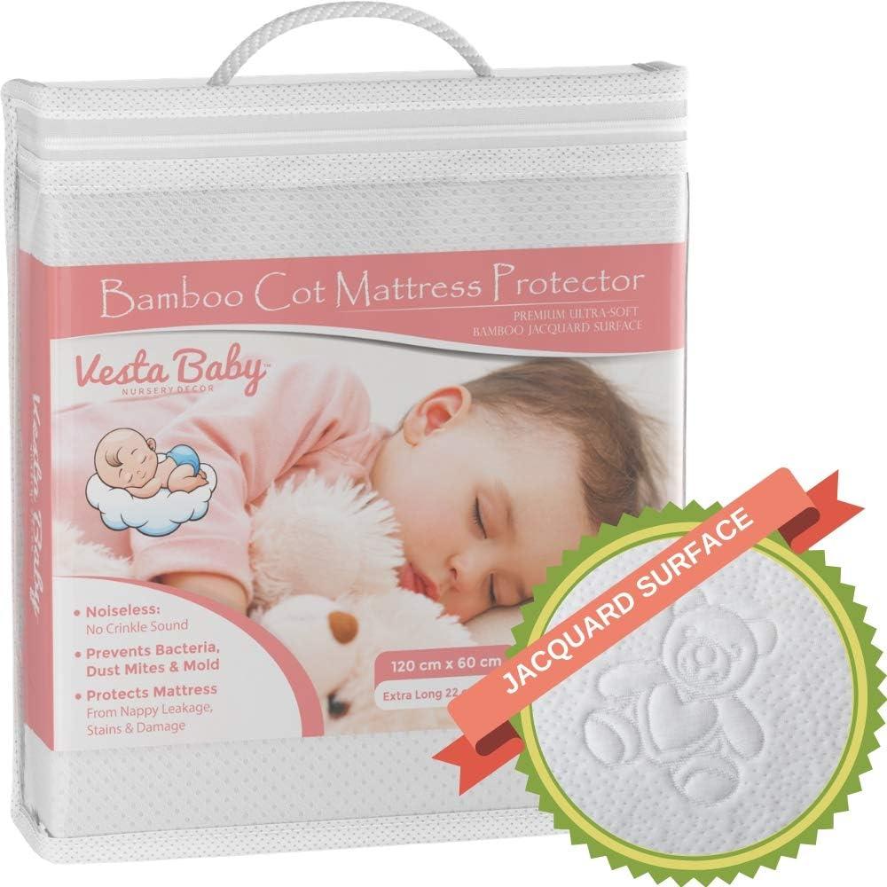 Protector de Colchón Premium para Cuna Funda de Almohadilla Impermeable Sábana Ajustable Bambú Natural Cobertura Silenciosa para Bebés y Niños Pequeños 60 x 120 cm