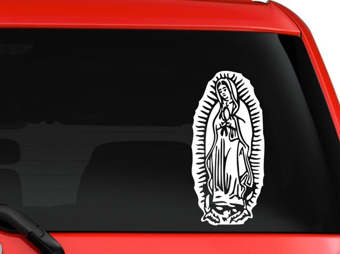"LA DECAL Virgin Mary Lady of Guadalupe Car Truck Laptop Macbook Decal Sticker 6"" White"