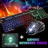 T6 Rainbow Backlight USB Ergonomic Gaming Keyboard and Mouse Set for PC Laptop (Black)