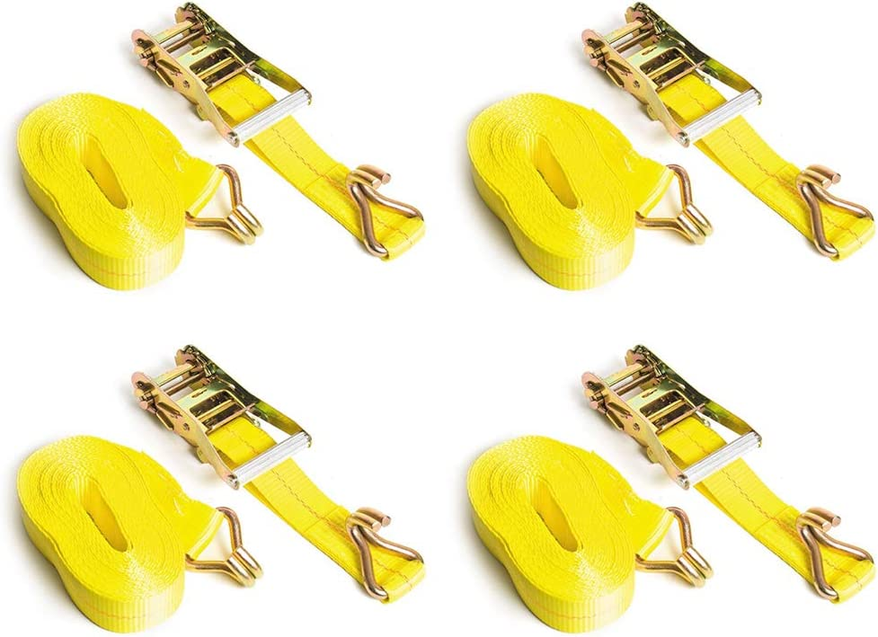 4-Pack, Yellow Seamander 2 x 25 Heavy Duty Ratchet Strap Cargo Tie Downs 3333 LBS Working Load 10000 LBS Break Strength Double J Hook Perfect for Moving Appliances Lawn Equipment and