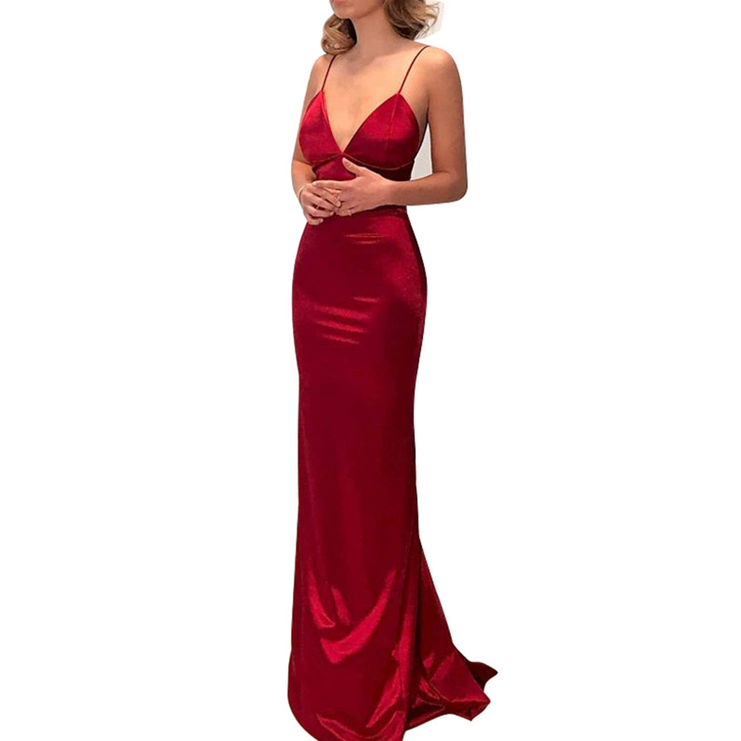 Women's Red Sexy Evening Dress Simple Spaghetti Straps VNeck Long Slim Ball Gowns Cocktail Party Prom Wedding Dresses