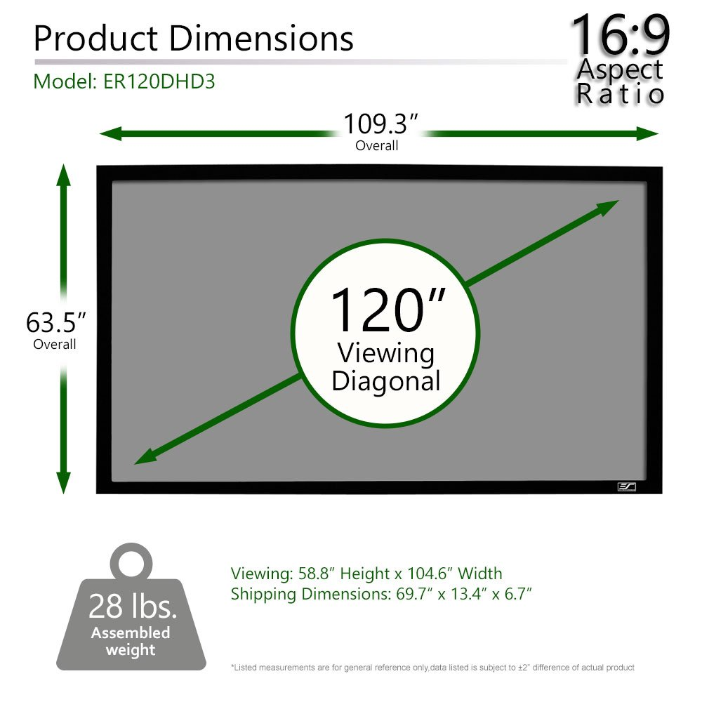 Elite Screens Er120dhd3 Sable Frame Ambient Light Rejecting Alr Fixed Frame Projector Projection Screen 16 9 120 Inch Diag Mimbarschool Com Ng