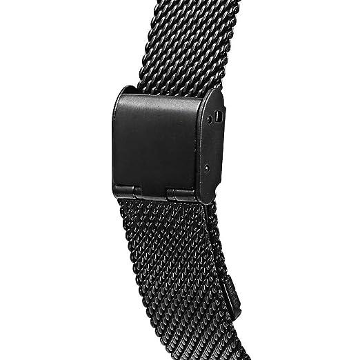 JiaMeng para Xiaomi MI Banda 2, Moda de Correa Elegante del Reloj del Acero Inoxidable Ligero de la Manera para Xiaomi Miband (Negro,tamaño Libre): ...