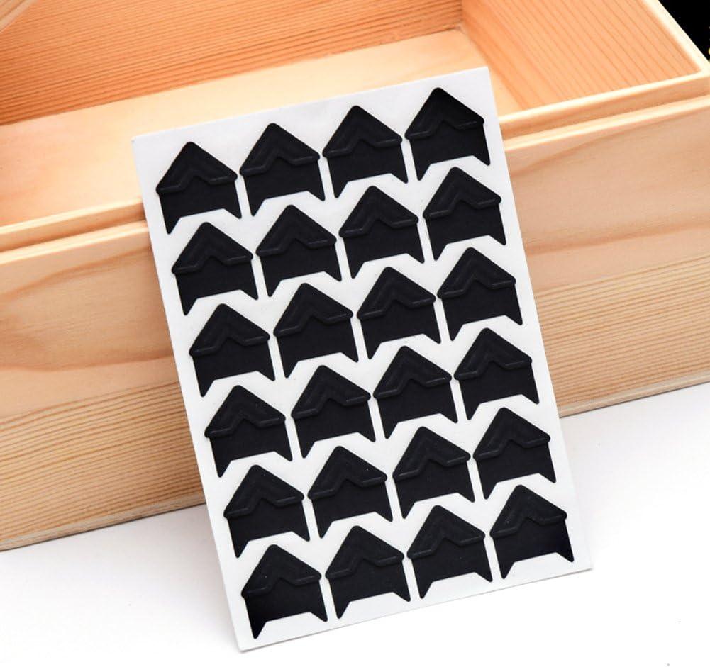 Black 20 Sheet Photo Corners Self Adhesive Photo Mounting Sticker Paper Corner Stickers for Scrapbooking Album Dairy