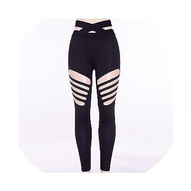 185ab8e16d23f Fitness Sports Leggings Ripped Pants Jogging Seamless Women Tights Running  Sportswear,Black,S