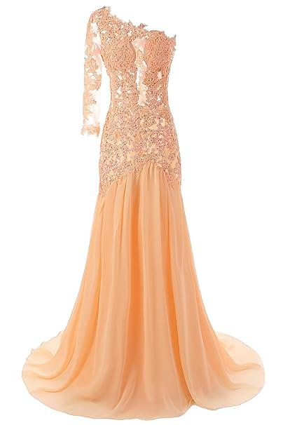 JAEDEN – Vestido de un hombro Sexy de sirena noche Prom Party vestidos de novia rosa