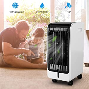 Toolsempire Air Conditioner Cooler with Fan & Evaporative Air Humidifier, Touch Pad/Remote Control Portable Humidifier Bladeless Quiet Electric Fan for Indoor Home Office Dorms Room (24.5inch)