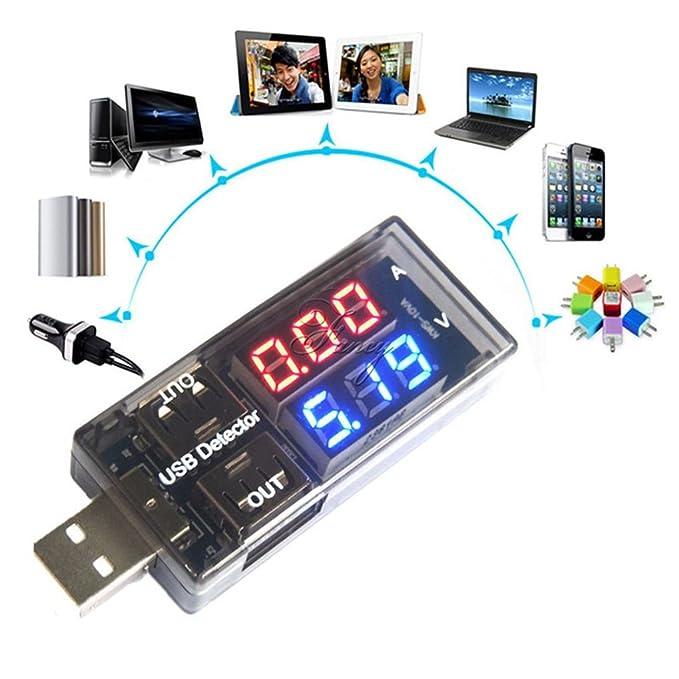 Tensión Corriente USB de carga dual rendimiento del detector del probador de la batería amperímetro del voltímetro del cargador de energía Regard: ...
