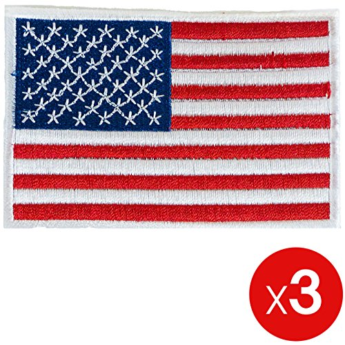 3x American USA United States Flag Embroidered Iron on Tacti