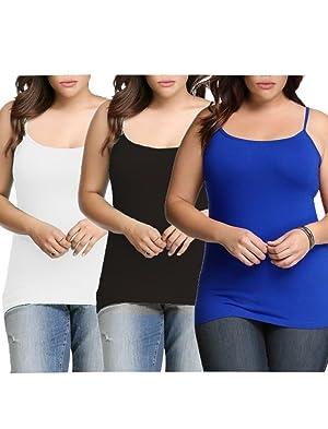 Womens Plus Size Seamless Cami Tank Top White Black Royal 1X-2X