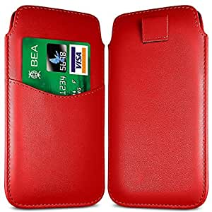 Online-Gadgets UK - Samsung Galaxy Mini S5 Premium Funda de cuero del tirón de la PU Ranura para tarjeta Tire Tab Case - Red
