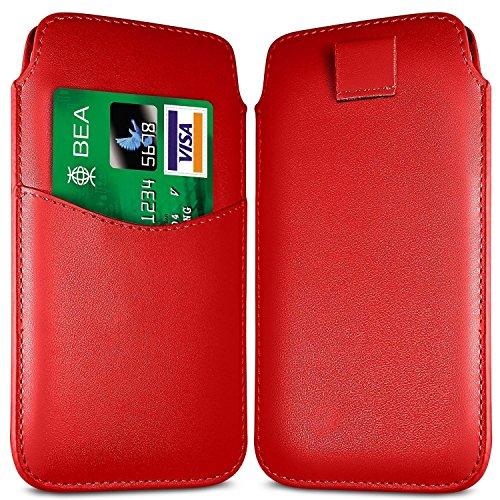 N4U Online - Apple Iphone 3G Fente pour carte prime PU Pull en cuir flip Tab Housse Etui - Rouge