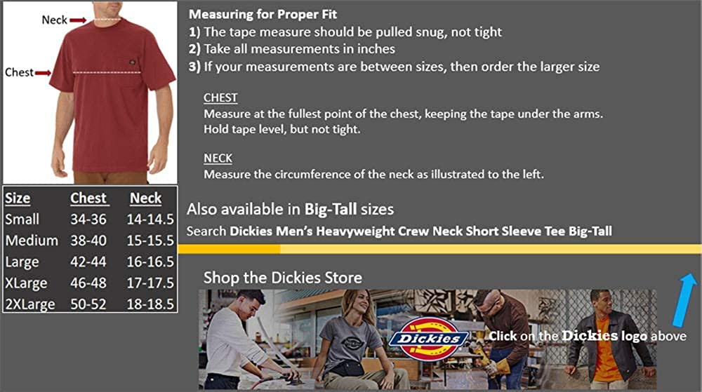 Dickies Men's Short Sleeve Heavyweight Crew Neck Pocket Tee |