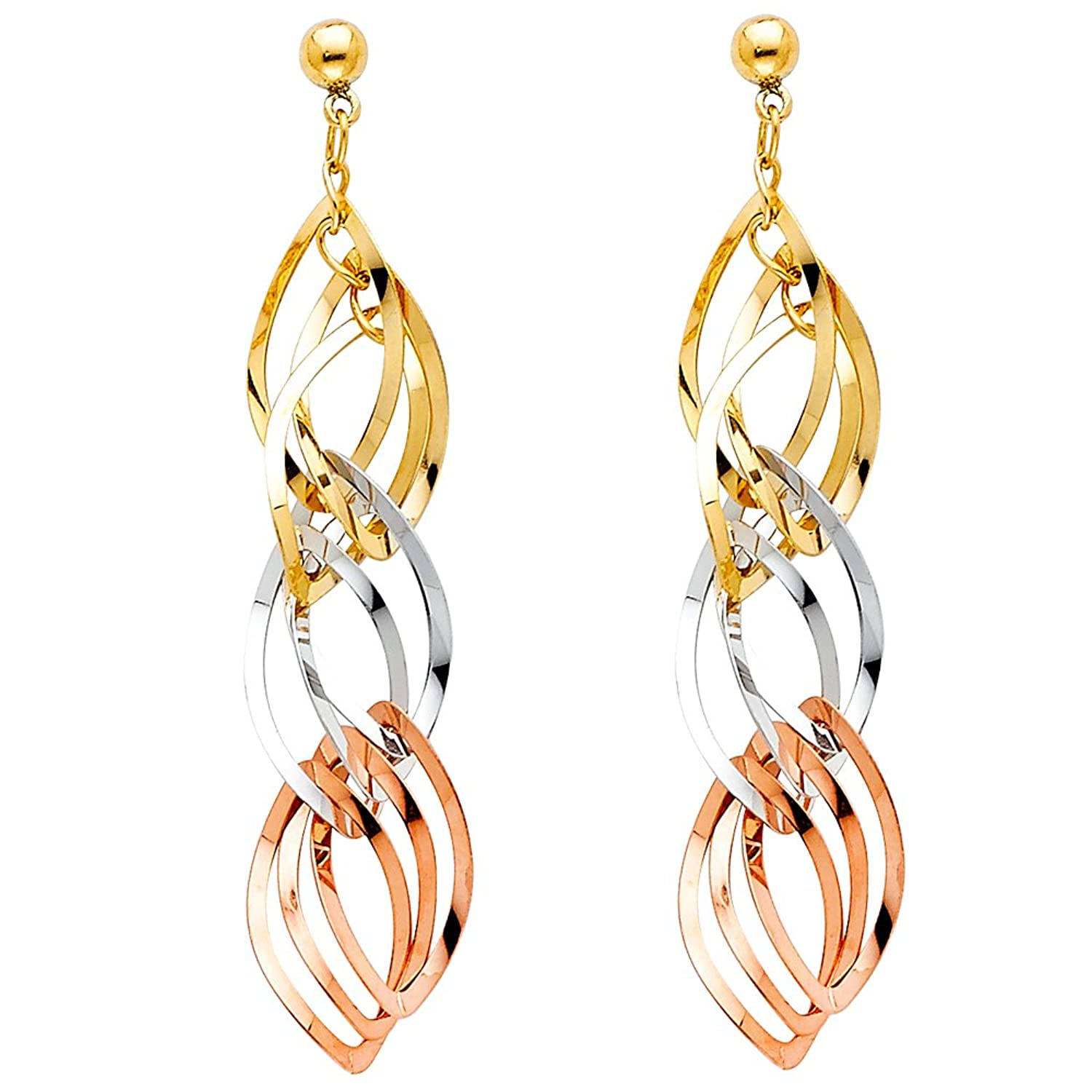 14k Tri Color Gold Twisted Dangle Earrings with Pushback (45 x 8 mm)