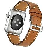 Apple Watch Band Wollpo® Apple Watch Bracelet, Véritable Boucle en Cuir avec le Fermoir Magnétique Unique Strap Replacement Band pour Apple Watch Tous les Modèles Aucune Boucle Nécessaires (Single Tour Brown-42mm)