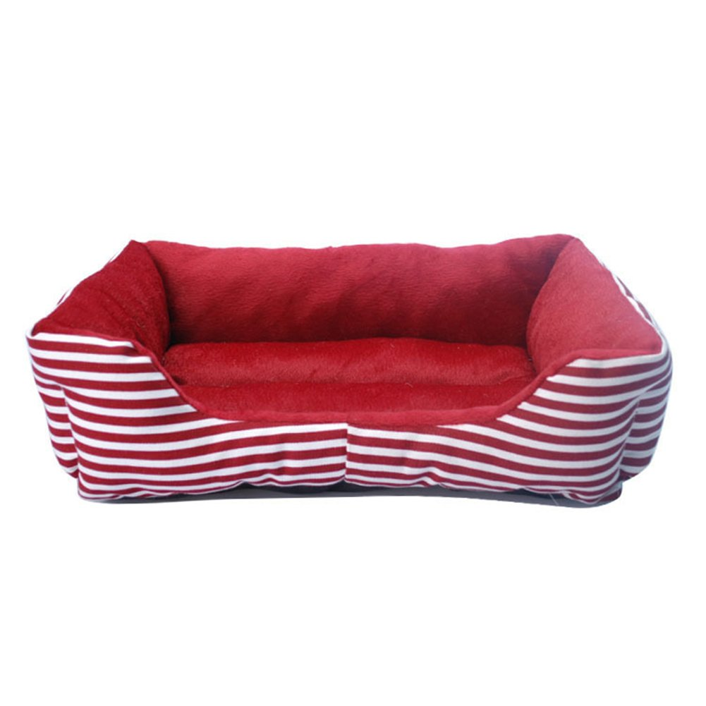 Saymequeen Vintage Striped Puppy Sofa Beds for Small Animals Rectangle Cat Cave Bed Nest Pet Sofa (L, red)