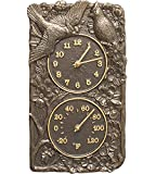 K&A Company Cardinal Outdoor Thermometer and Clock, 8'' x 13.75'' x 2'' x 5 lbs, French Bronze
