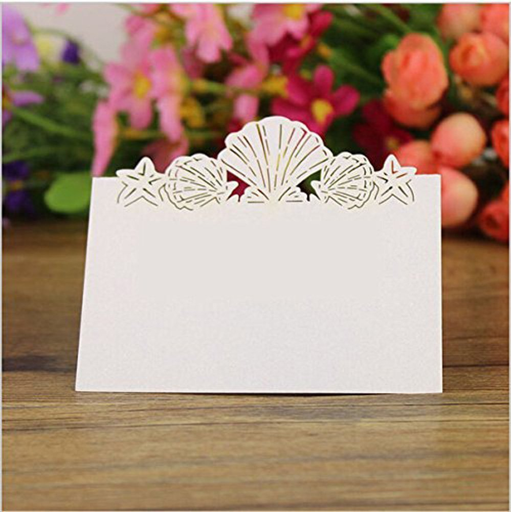 Amazon.com: 50 Pack Beach Themed Wedding Place Card Laser Cut Sea ...