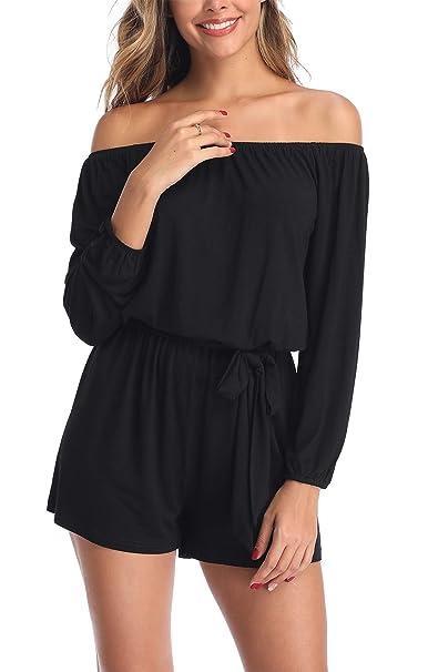 brand new d09f1 2830d MISS MOLY Damen Schulterfrei 3/4 Ärmel Jumpsuit Kurz Playsuit Overal  Elegant mit Bindegürtel