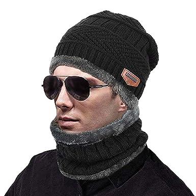 d6adafd345c4af Wintermütze Warm Beanie Strickmütze und Schal,Beanie Mütze mit Loop Schal  Set,Strickmütze Kaschmir