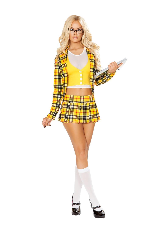 cd959ec59 Amazon.com: Fest Threads 3 PC Beverly Hills School Girl Yellow Plaid Blazer  & Skirt Party Costume: Clothing