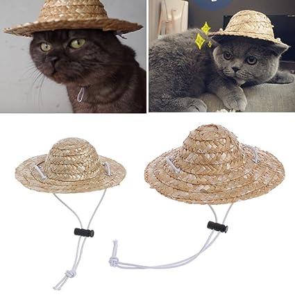 LA VIE Sombrero de Paja para Gatos Minis Perros Pequeños Hecho a Mano  Sombrero Retro para eda8e312f2e