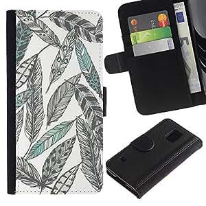 Dibujo al lápiz Arte Verde- la tarjeta de Crédito Slots PU Funda de cuero Monedero caso cubierta de piel Para Samsung Galaxy S5 V SM-G900