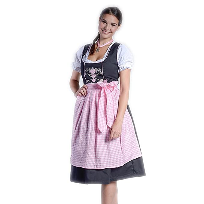 Vestido regional midi de tirolesa con corazones Sara, color negro/rosa/ blanco,