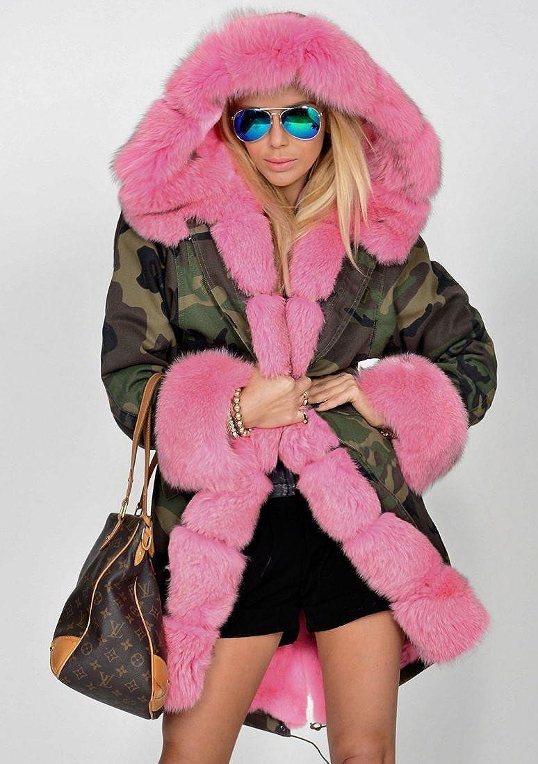 55a0d7962 Roiii Women Thicken Warm Winter Coat Hood Parka Overcoat Long Jacket Outwear  at Amazon Women's Clothing store: