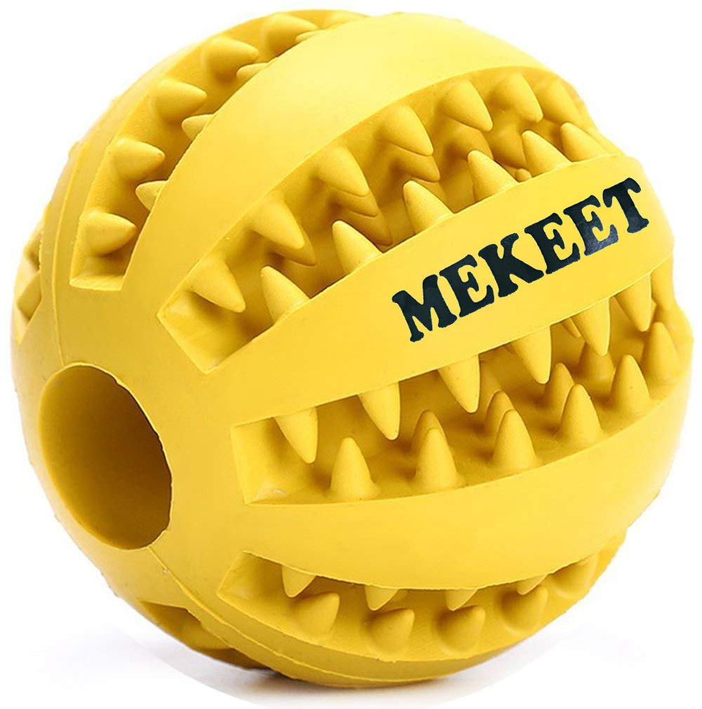 Yellow MEKEET Dog Ball Toy Nontoxic Bite Resistant Rubber Toy Balls Dog Pet Chew Training Tooth Cleaning Ball 2.7in