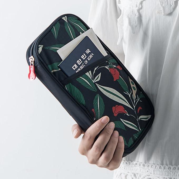 Cokaka - Funda para pasaporte (incluye correa de muñeca desmontable, con cremallera) Negro negro: Amazon.es: Ropa y accesorios