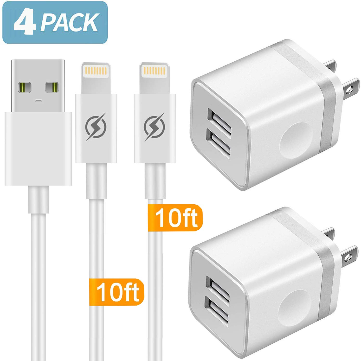 Phone Charger 10ft Cable with Wall Plug (4 in 1), YANME 2 Port USB Wall Charger Adapter Block with 10 Feet Long Charging Cord Compatible with Phone Xs/Xs Max/XR/X 8/7/6/6S Plus SE/5S/5C, Pad, Pod