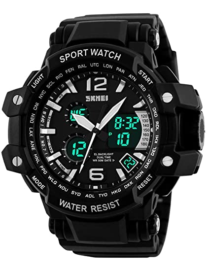 Skmei Multi Función Hombre Reloj analógico Digital pantalla LED correa de caucho deporte impermeable reloj de pulsera Negro: Amazon.es: Relojes
