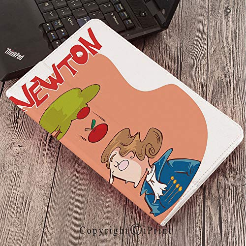 Samsung Tab S3 9.7 SM-T820 SM-T825 Tablet Case Protective Cover Crystal Case,Educational,Cute Isaac Newton Sitting Under an Apple Tree Revelation History Funny Cartoon Decorative,Multicolor (Newton Crystal)