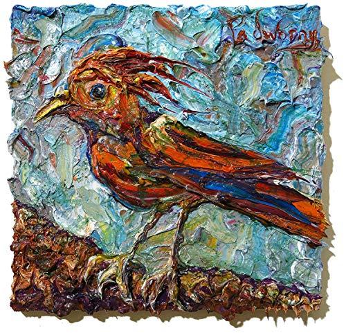 (UNTITLED x1280 - Original oil painting bird fly)