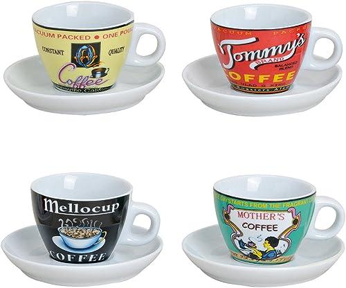 Espressotassen Set 4 Tassen mit Untertasse in weiß, modern Retro Design