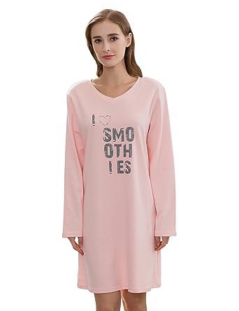 7d5d57003b5fdf QianXiu Damen Freizeit Nachthemd Gestrickte Baumwolle Nacht Lange Ärmel  Gemütliche Nachtwäsche Startseite Bekleidung