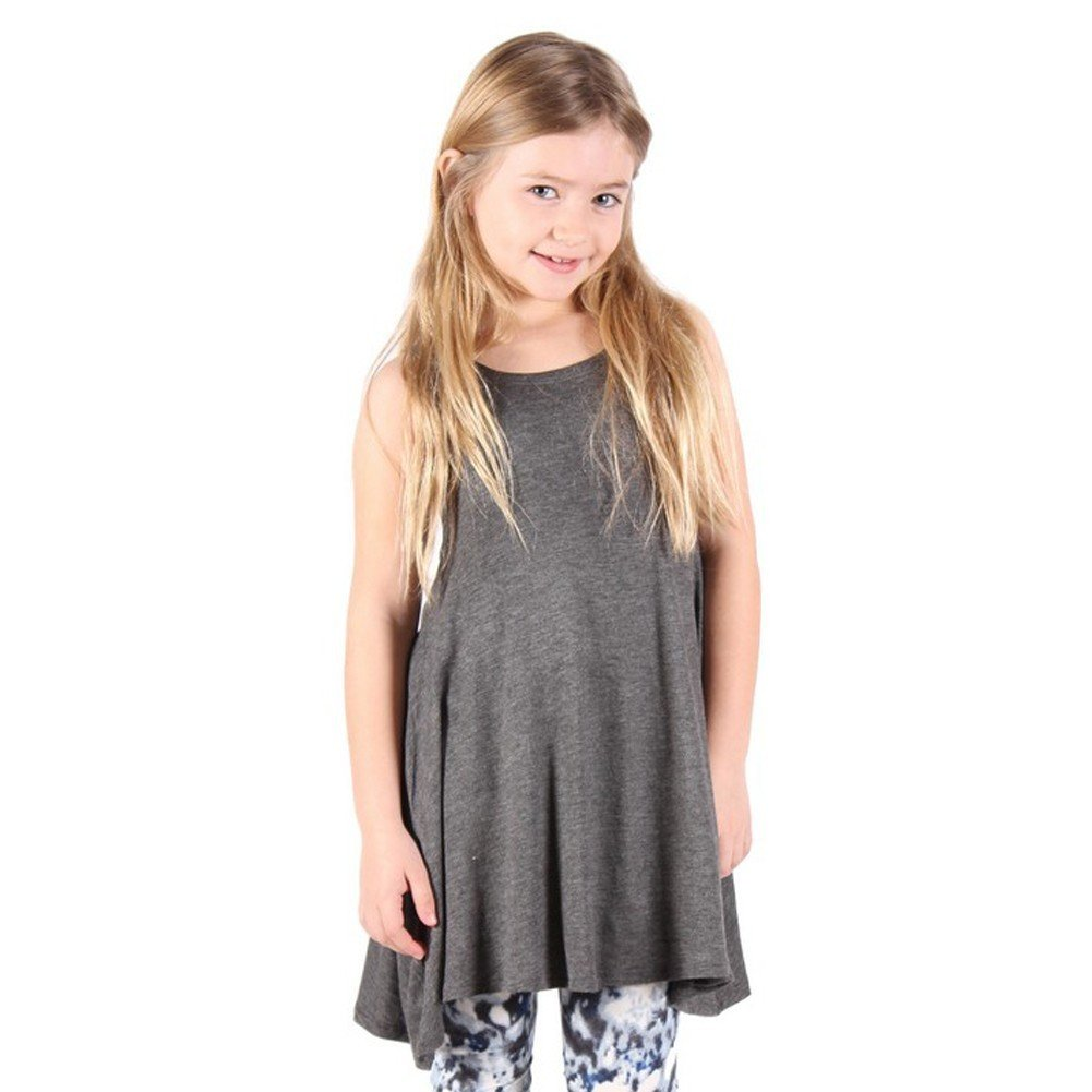 Lori/&Jane Girls Gray Solid Color Loose Fit Sleeveless Trendy Tunic 6-14