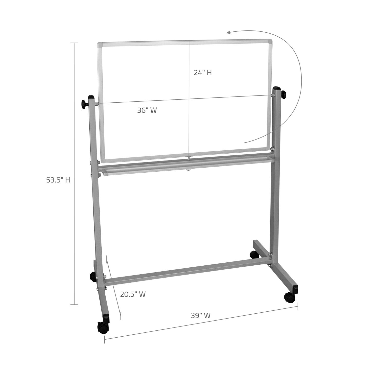 Offex Mobile Double Sided 36 X 24-Inch Reversible Adjustable Magnetic Whiteboard Easel with Chrome Frame 4 Casters OF-MB3624WW