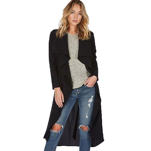 OverDose Womens larga delgada capa de la chaqueta del foso rompevientos Outwear Parka Cardigan