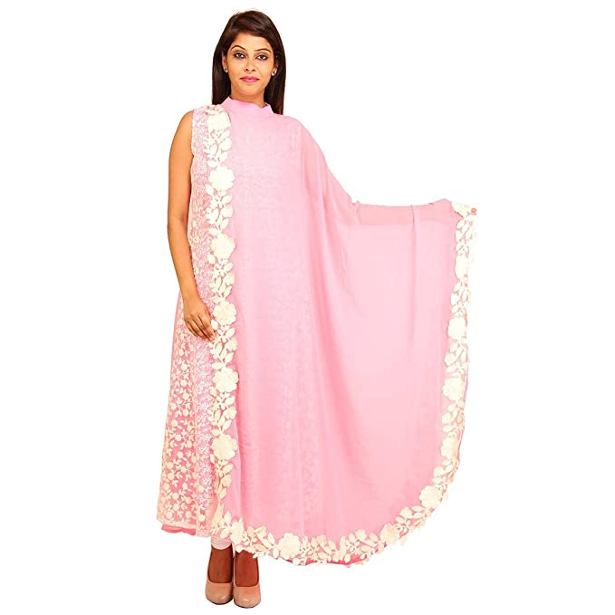 Tahilyani s Creation Baby Pink Georgette Double Layered Kurti  Amazon.in   Clothing   Accessories bafa5e0fe