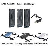 LCLrute Hohe Qualität 3PC 3.7V 500MAH Lipo Batterie für Eachine E56 JJRC H47 Heiliger Stein HS160 RC Quadcopter + USB Gebühr (Schwarz)