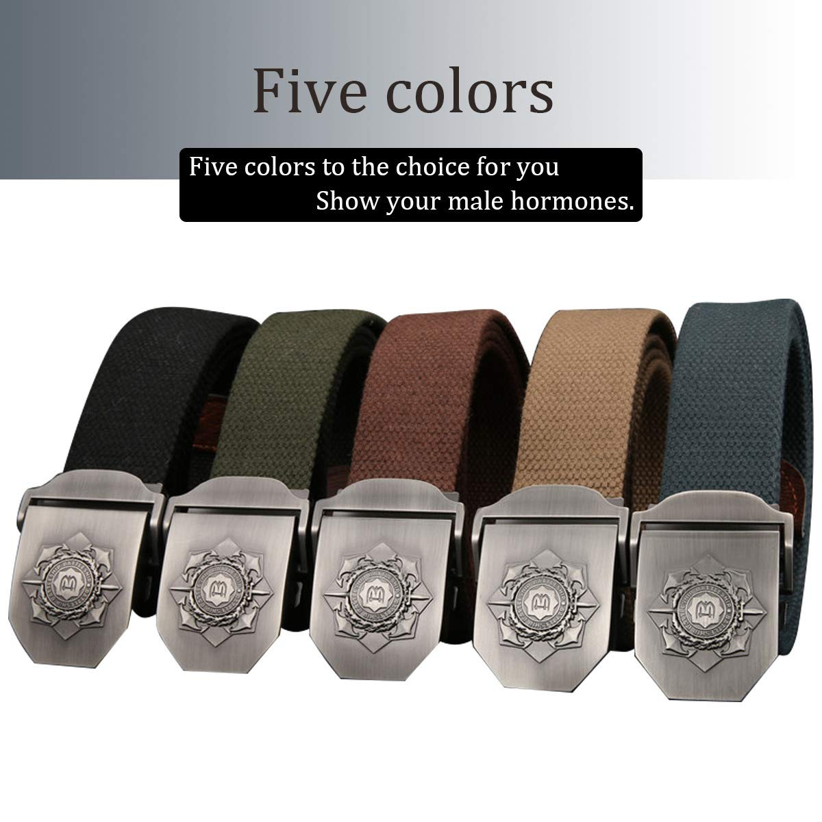 Youngate Canvas Web Belt Flip-Top Black Buckle//Tip Solid Color 53 Long 1.5 Wide