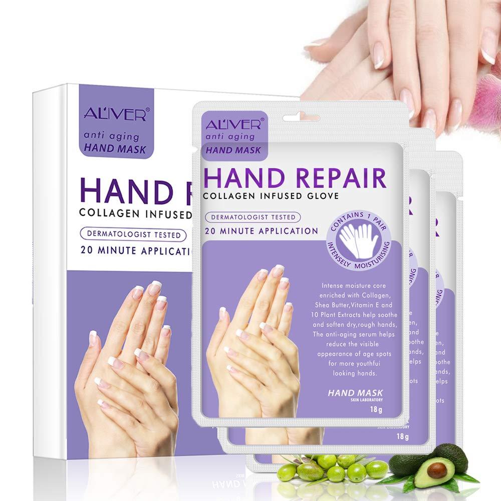 Hand Peel Mask 3 Pack, Hand Mask Spa Gloves Moisture Enhancing Gloves for Dry Hands, Exfoliating Hand Peeling Mask, Repair Rough Skin Remove Dead Skin for Women Men