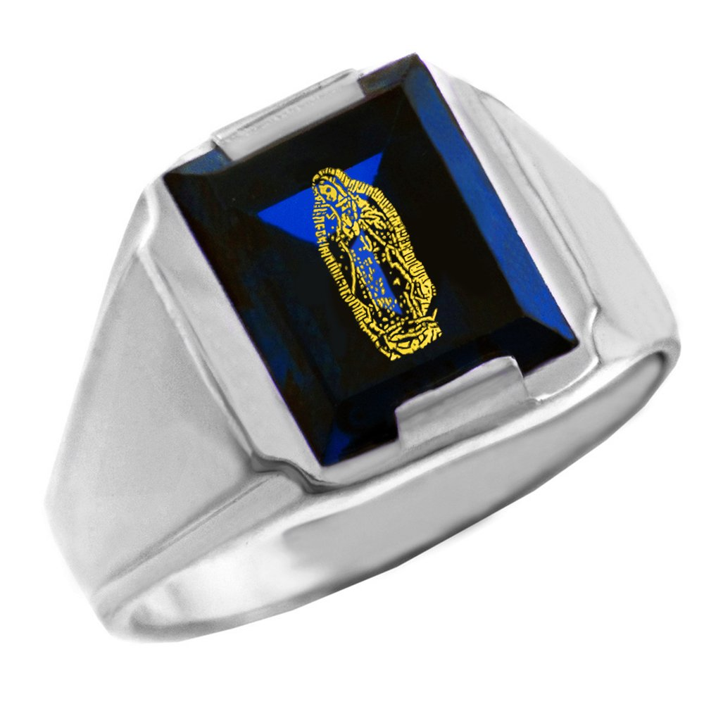 Mens 925 Sterling Silver Blue Stone Square and Our Lady of Guadalupe Ring