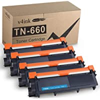 V4INK Compatible Toner Cartridge Replacement for Brother TN630 TN660 TN-660 (Black, 4-Pack) for use in Brother HL-L2300D…