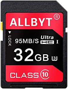32GB Memory Card,ALLBYT Ultra Class 10 UHS-I High Speed U3 Memory Card Compatible Computer Cameras and Camcorders,Memory Card Up to 95MB/s