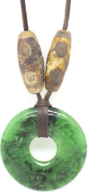 Colgante de jade verde, tallado a mano, con ágatas marrones con dibujo africano, piel de ciervo y abalorios, ágatas de colores, cruz, medalla árbol de la vida y perla Regalo Dia de la Madre