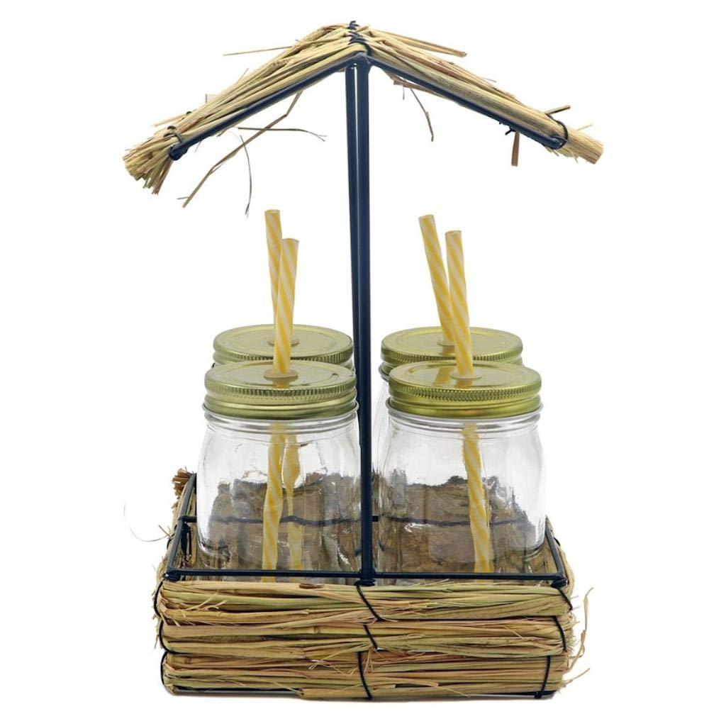DEI Tiki Hut Drinking Glass Set of 4 Drinking Jars